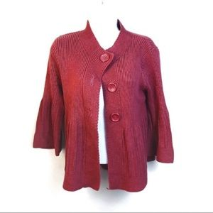 Mossimo Red Chunky Knit Button Up Cardigan Medium